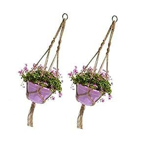 fvstar 2pcs 40Inch macramé Plant percha para colgar maceta de flores maceta cesta de cuerda con intravenosas y aro colgante
