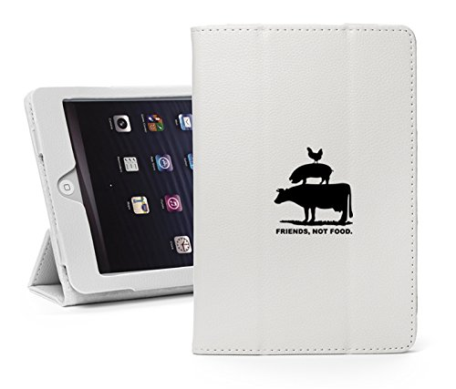 Leather Magnetic Smart Case Cover Stand for Apple iPad Mini 5 5th (A2133, A2124, A2126) Friends, Not Food Vegan Farm Animal Rights (White)
