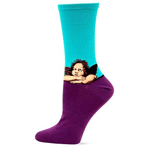 (Hot Sox Women's Artist Series Crew Socks, Raphael'S Angels (Teal), Shoe Size 4-10/Sock Size 9-11)