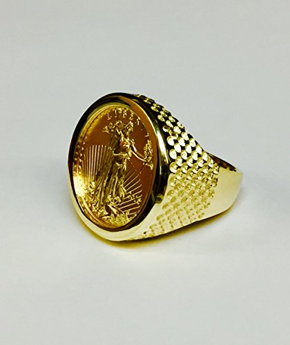 14-Kt-Solid-Yellow-Gold-Mens-Ring-with-22K-Fine-Gold-14oz-US-Liberty-Coin-25Mm-Random-Year-Coin