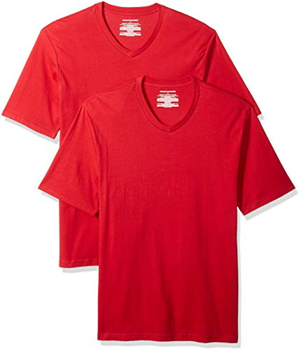Amazon Essentials Men's 2-Pack Loose-fit V-Neck T-Shirt, red, XX-Large ()