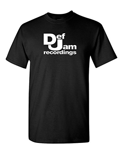 Def Jam Recordings T Shirt - Hip Hop Classic Music record Label Run DMC New York (M, Black)