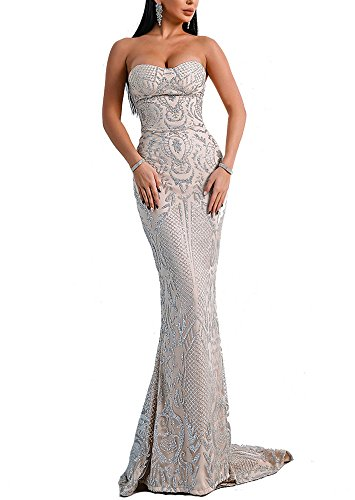 LinlinQ Women's Sexy Off Shoulder Bustier Glitter Floor-Length Prom Gown Dress (Large, Silver) ()