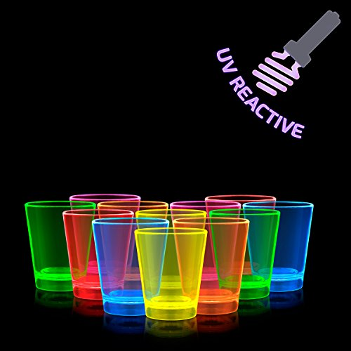 Glow Shot Glass (1.5 oz. Neon Party UV Reactive Glowing Shot Cups In Assorted Colors (Set of 12))