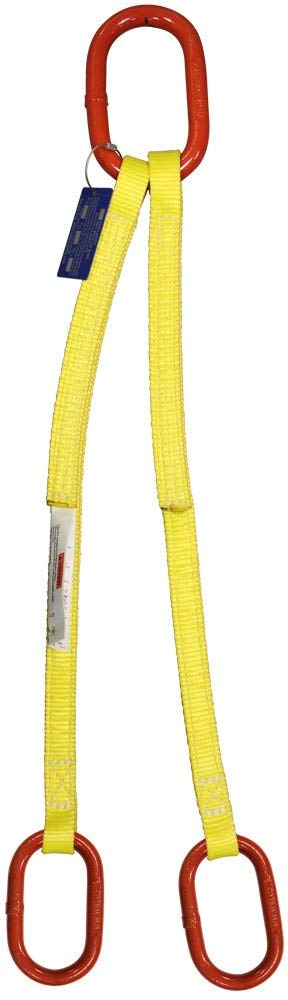 HSI Two Ply 2-Leg Oblong-to-Oblong Bridle Nylon Sling | EE2-802 | 2'' Web Width | 4' Length | 12,000 Lb. Vertical Capacity | 1'' Trade Size Alloy Master Link