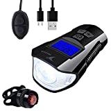 NASUS Bike Speedometer Odometer and Computer,Bike Light Set,Bike Bell 3 in 1 Multi-Functions-Bicycle Headlight Front Light & Free Rear Back Tail Ligh All USB Rechargeable and Waterproof