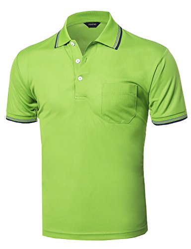 Xpril Solid Cool Dri-Fit Active Short Sleeve Collar Polo T-Shirt Tee Lime Green XL