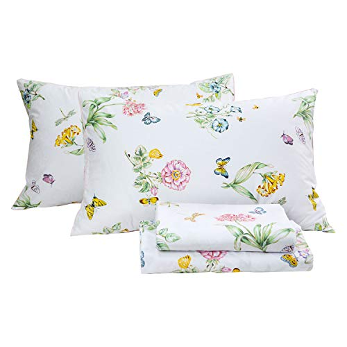 FADFAY Floral Bedding Elegant Butterfly Meadow Bed Sheets Set Luxury Bedding Collections 800 Thread Count 100% Egyptian Cotton Deep Pocket, 4 Piece-Queen Size