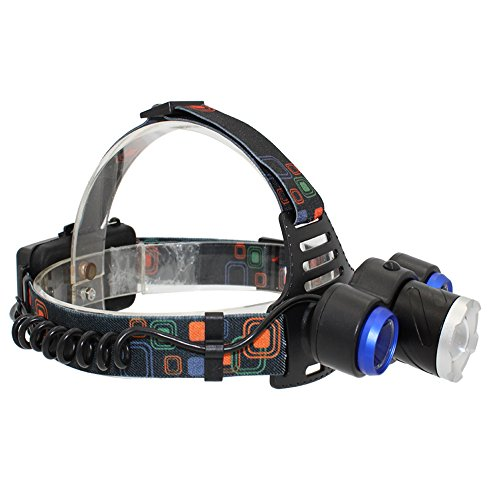 KC Fire Rechargeable LED Headlamp, Camping Hiking Fishing Hunting Head Torch, 4 Modes Ultra Bright XML-T6 + 2 XPE LED,18650 Battery and Charger Included