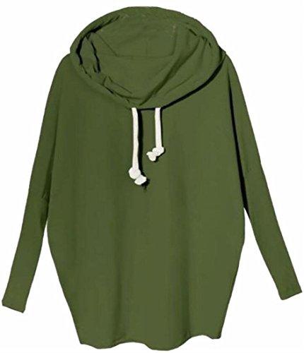today-UK Women Hooded Cowl Neck Long Sleeve Pullover Sweatshirt Green