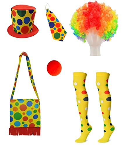 Clown Costume Hat + Shoulder bag + Tie + Clown nose + Rainbow wig + Socks 6-piece set(XC-MAO) ()