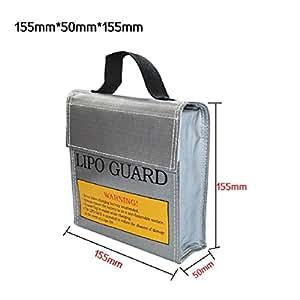 Lookatool LiPo Li-Po Battery Fireproof Safety Guard Safe Bag (15550155MM, Gray)