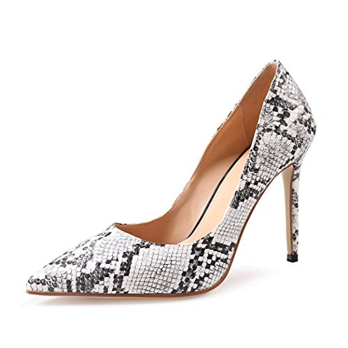 wetkiss Snakeskin Pumps Sexy Pointed Toe Stiletto high Heels Snake Print Dress Shoes Party Pumps