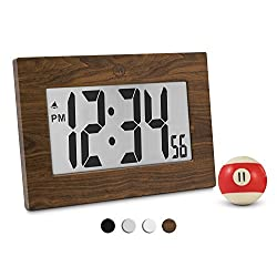 Marathon CL030064WD 9 Large Digital Frame Clock with 3.25 Digits - Batteries Included (Wood Tone)
