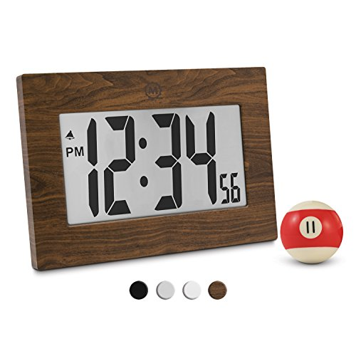 "41k8cCEbg1L - Marathon CL030064WD 9"" Large Digital Frame Clock with 3.25"" Digits - Batteries Included (Wood Tone)"