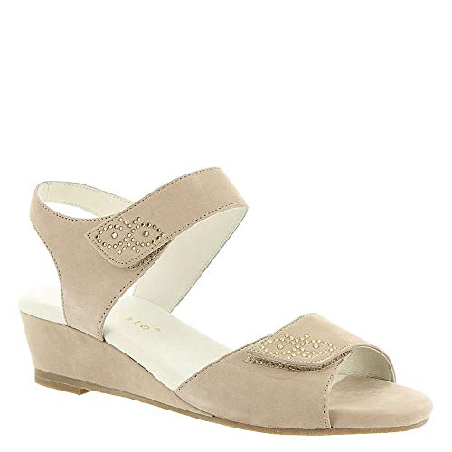 David Tate Womens Queen Leather Open Toe Casual Slingback, Sand, Size 9.0