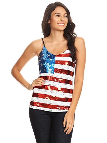 Anna-Kaci Womens Patriotic USA Flag American Sequin V Neck Cami Tank Top, Multicolored, Large