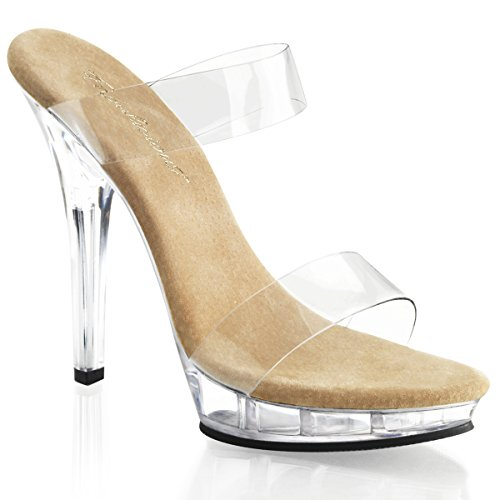 FABULICIOUS Womens Shoes Two Band Slide Platform High Heels LIP-102-1 (Clear Platform Lip Shoes)