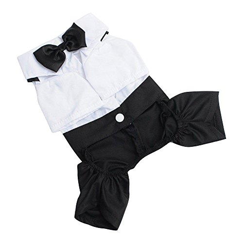 (Pet Prince Groom Tuxedo Shirt Suit with Bow Tie Costume for Puppy Dog Cat -)