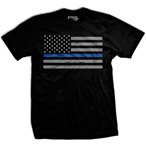 Thin Blue Line Flag T-shirt from Ranger Up for Police, Law Enforcement, Medium ()