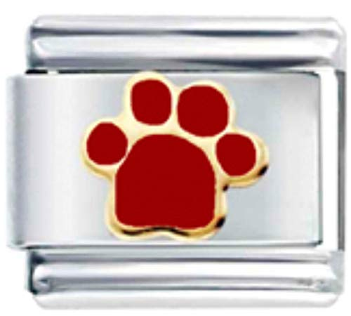 Stylysh Charms PET PAW Dog CAT Red Enamel Italian 9mm Link AN001 ()