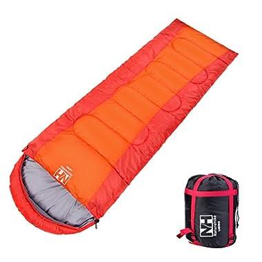 Campsod Hiking Camping Sleeping Bag Lightweight Rectangular Waterproof Sleeping Bags XL Orange