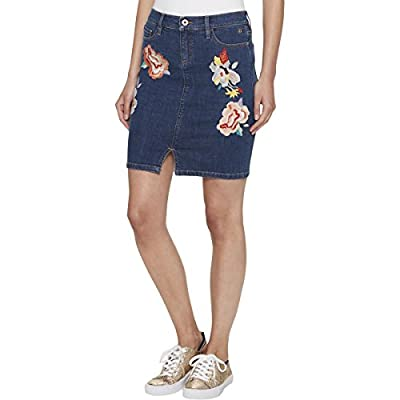 Tommy Hilfiger Womens Embroidered Floral Denim Skirt