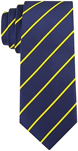 Navy Regimental - Scott Allan Collection Pencil Stripe Ties for Men - Woven Necktie - Navy Blue w/Yellow