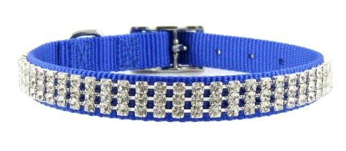 Rhinestone Dog Collar By FURRY (Blue, 18″), My Pet Supplies