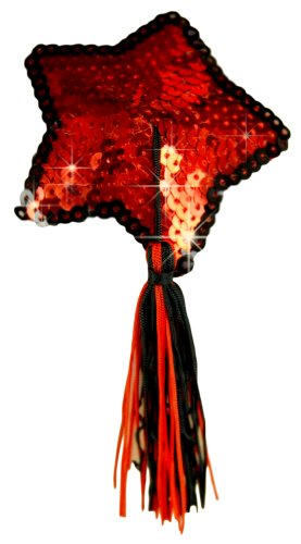 ToBeInStyle Women's Party Two Toned Red Black Tasseled Sequin Stars - Pasties