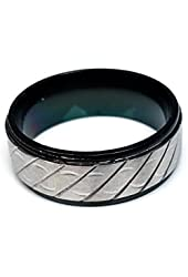 Mens G by GUESS Black Stainless Steel Ring with Silver Band Accent