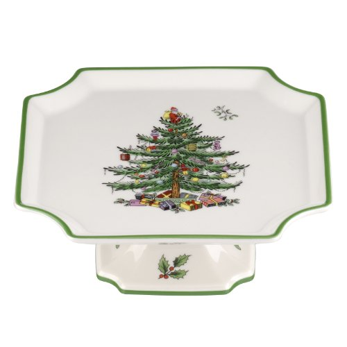 Spode Christmas Tree Footed Square Cake Plate, 6.5-Inch
