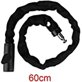DANDAN Bicycle Lock MTB Bicycle Key Lock Steel Anti-Theft Outdoor Security Bike Chain Lock Electrombile Motorbike 60/90/120/150cm Bike Accessories (Color : Black 60cm)