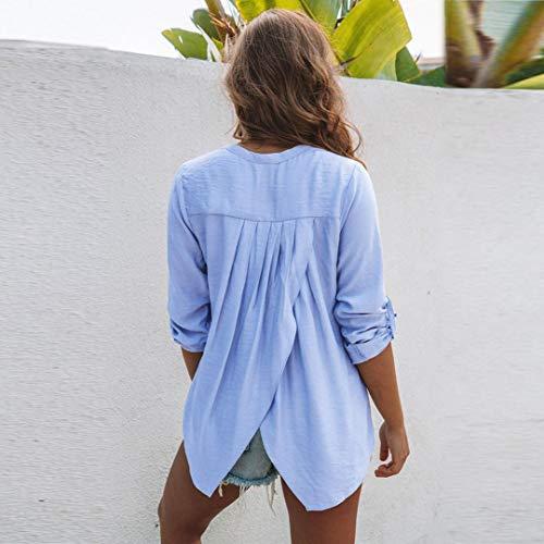 manica Blu lunga T da cappuccio Top a Camicia in Felpe donna Shirt casual lino a maniche con da di e donna Maglie abbottonata Bluse Yanhoo Donna lunghe camicetta camicie cotone donna SqAnSgB6