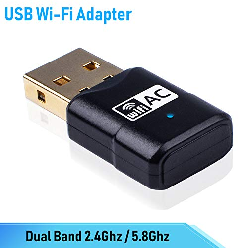 Miuzei USB WiFi Adapter AC600Mbps Dual Band 2.4GHz + 5.8GHz Wireless WiFi Network Card for Laptop Desktop Windows XP/Vista/7/8/10, Mac OS X 10.6-10.14