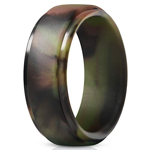 ThunderFit Silicone Ring for Men - Rubber Wedding Band - 1 Ring (Camo, 10.5-11 (20.6mm))