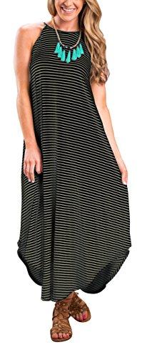 - ETCYY Women's Summer Casual Stripe Sleeveless Loose Beach Maxi Dress