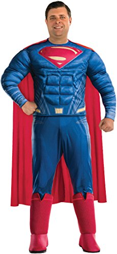 Rubie's Justice League Deluxe Adult Superman Costume, Plus (Big And Tall Men's Halloween Costumes)