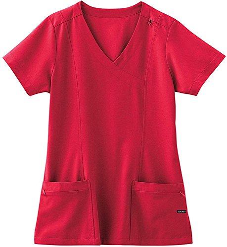 (Jockey Classic 5 Pocket Mock Wrap Scrub Top- Red- X-Small)