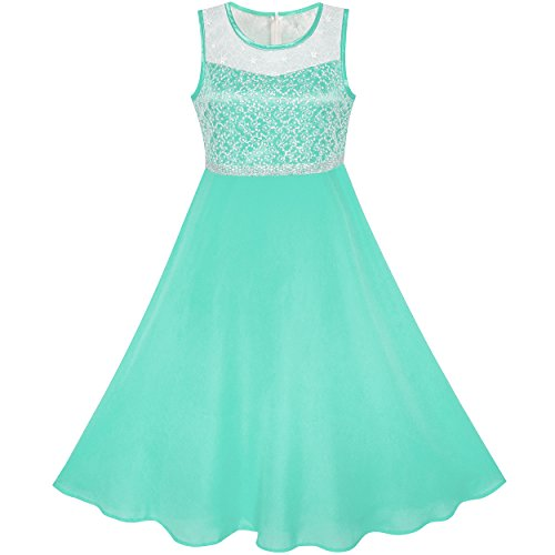 LB63 Girls Dress Turquoise Chiffon Bridesmaid Dance Ball Maxi Gown Size 8