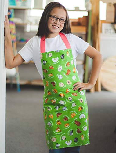 Handmade Tween Girl Green Dogs Kitchen Art Craft Gift Apron from Sara Sews