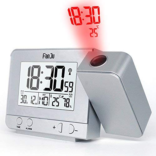 WXLAA Projection Alarm Clock, Temperature and Time Projection/USB Charger/Indoor Temperature and Humidity/Manual Time Adjustment/Calendar/Double Alarms with Snooze Function