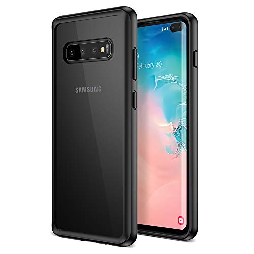 Maxboost Galaxy S10 Plus Case HyperPro Series with Heavy Duty GXD-Gel Protection [Black/Clear] [PowerShare Friendly] Enhanced Hand-Grip TPU Cushion Frame Clear Hybrid Cover for Samsung Galaxy S 10+