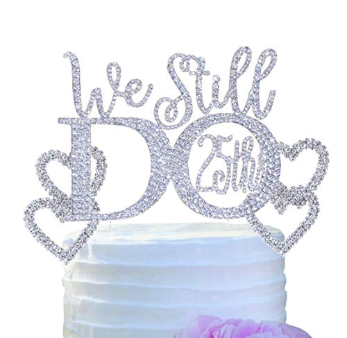 25th Wedding Anniversary Vow Renewal Cake Topper made in Silver Crystal Rhinestones