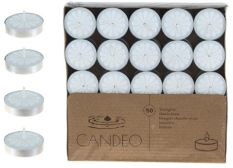DD 50-Piece Unscented Tea Light Candles - White(Pack of 20)
