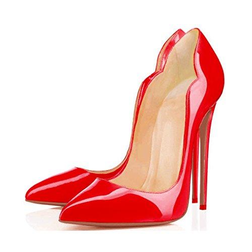 Arc-en-Ciel zapatos de las mujeres del estilete bombas de tacón alto Rojo