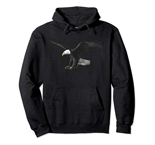Majestic Flying American Bald Eagle Photo Portrait Hoodie Pullover Hoodie American Eagle Cotton Sweater