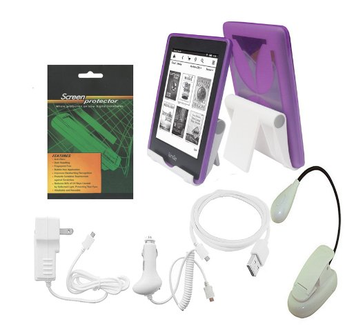 iShoppingdeals - Purple TPU Rubber Cover Case w/Screen Protector Reading Book Light View Stand Holder Charger Cable Bundle for Amazon Kindle Paperwhite 6 INCH