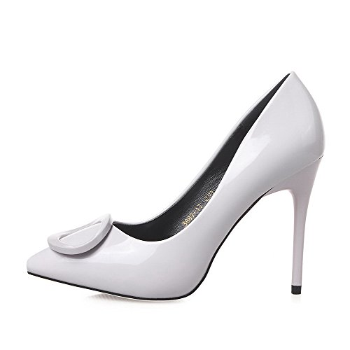 Aalardom Womens Point-teen Pull-on Solid Spikes-stiletto Pumps-shoes Lightgray-10cm