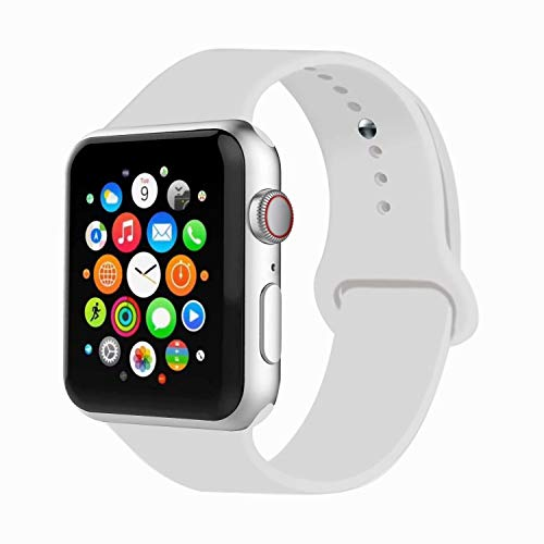 IYOU Sport Band Compatible with Watch Band 38MM 42MM 40MM 44MM, Soft Silicone Replacement Sport Strap Compatible with 2018 Watch Series 5/4/3/2/1(Soft White (Light Grey),42MM, M/L)